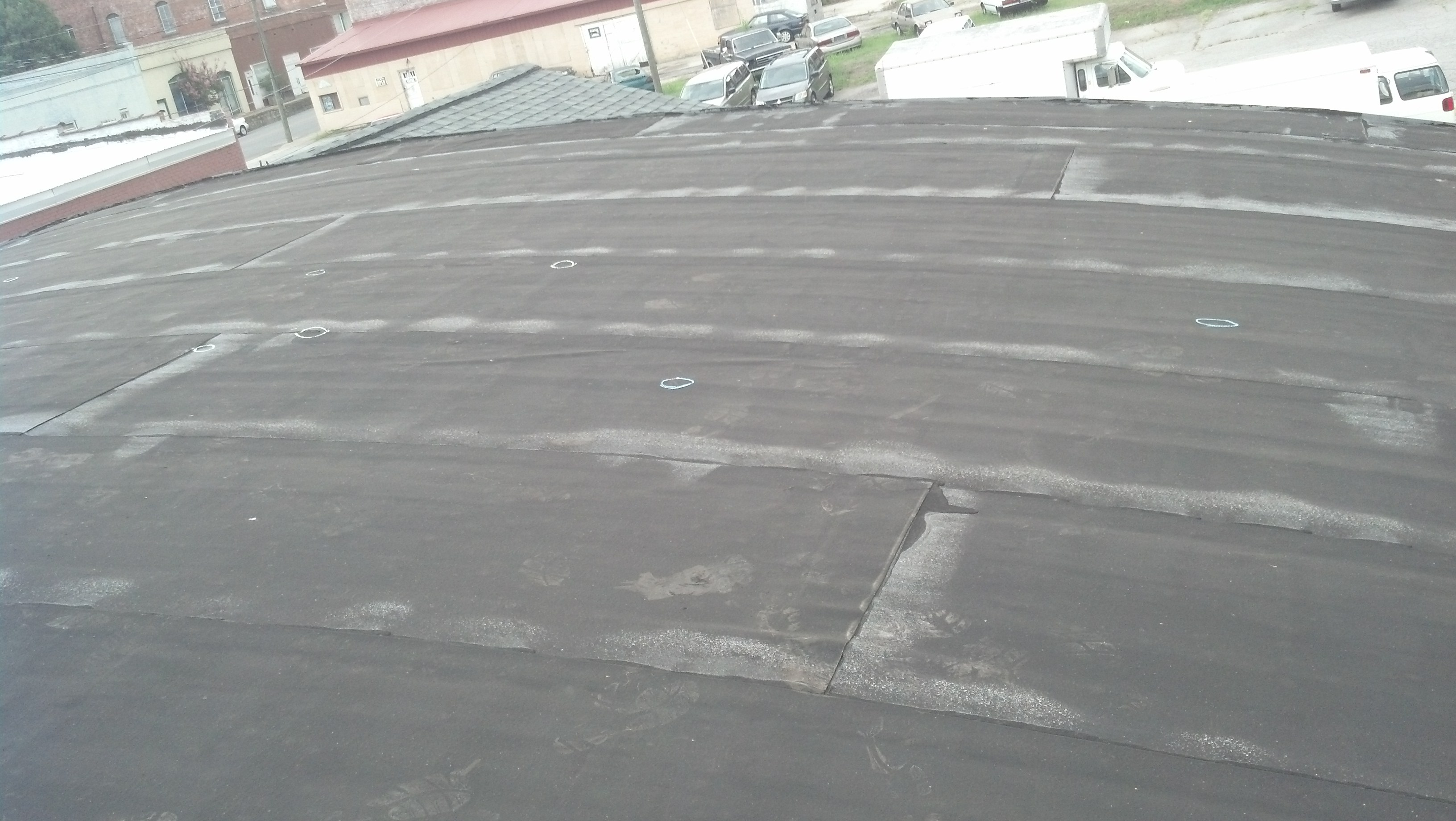 Hail Damage On Modified Bitumen Roof Columbia Sc